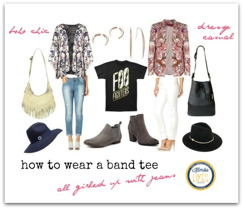 How to wear a band tee - all girled up with jeans @kimbalikes #kimbalikes kimbalikes.com