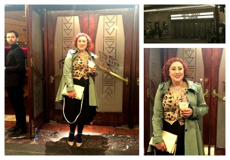 Retro cute style for Festival of Kimba birthday date night wearing Boohoo mac, Sussan leopard cardi, Forever New 50s skirt,  City Chic navy opaques, Mimco leopard kitten heels & earrings, Anizoe leather clutch