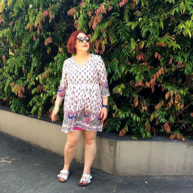 Wearing St Frock dress over Metalicus slip Kimba Likes Frocktober 2015 - sharing the first week of frocks to help raise funds and awareness for Ovarian Cancer #Frocktober #OCRF #kimbalikes