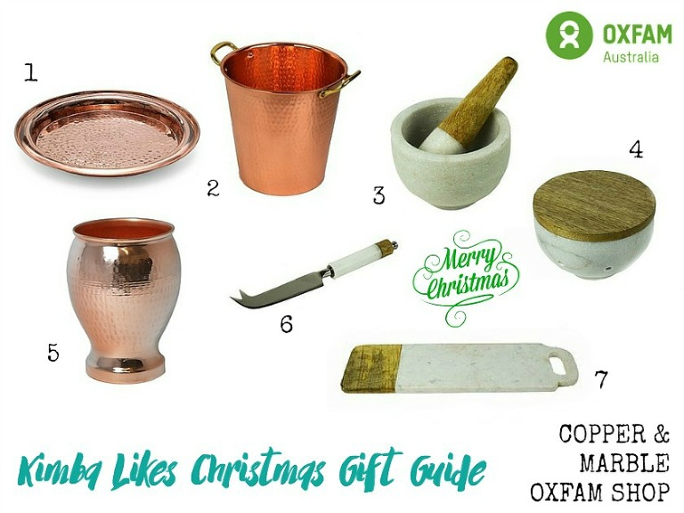 Kimba Likes Christmas Gift Guides 2015 - lusting after copper, rose gold and marble - check out my ethical homewares gifts from Oxfam Shop