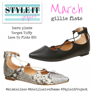 Style it Project March with Kimba Likes and The Illusive Femme - it's all about the point toe wrap around lace up gillie flats #StyleitProject