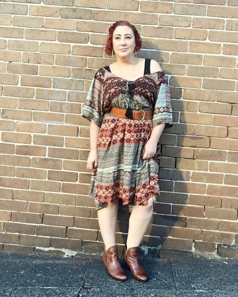 Kimba Likes Autumn Style File - wearing Lillianna Plus folk dress over Sussan long line tank, cinched with Trenery tan leather belt and booted with Planet Shoes stylish ankle boots