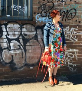 Floral Fantasy Spring Fling Style File | wearing Voodoo Vixen frock, Miss Sixty jacket, Midas boots, Rebecca Minkoff Micro Moto Tote