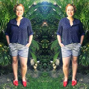 wearing stripe pants for Style it Project | Millers blouse, Rockmans stripe shorts, Michael Kors mocassins