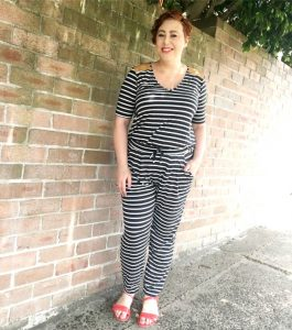 wearing stripe pants for Style it Project | teamed my Ruby and Lilli Classique top and pants for a faux jumpsuit