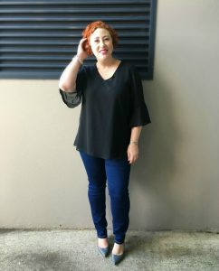 Blyton Bell Cuff Blouse and Stretch Denim Jeans