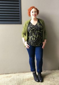 Bron Waterfall Cardigan, Britta Top and Stretch Denim Jeans