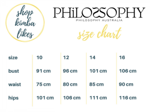 Kimba Likes Pop Up Shop | Philosophy Size Guide